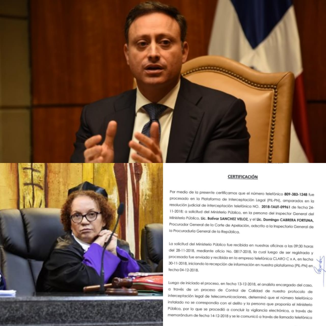 Policía Nacional certifica PGR no recibió información sobre interceptación teléfono de Miriam Germán