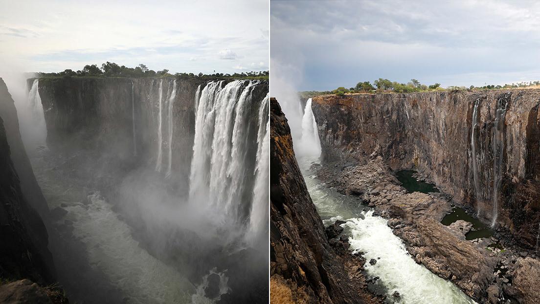 (Fotos): El antes y después de las cataratas Victoria, que casi se han secado en menos de un año