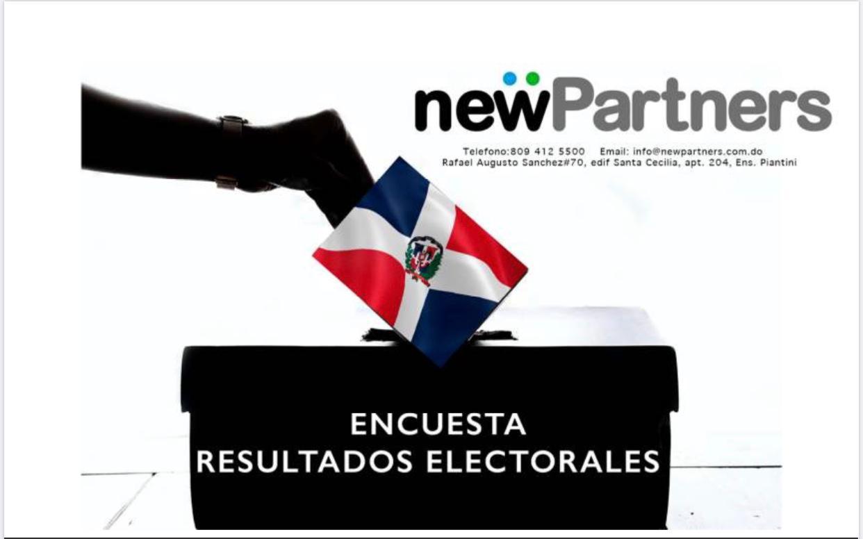 Encuesta New Partners: 54% Abinader, 29% Gonzalo y 10% Leonel