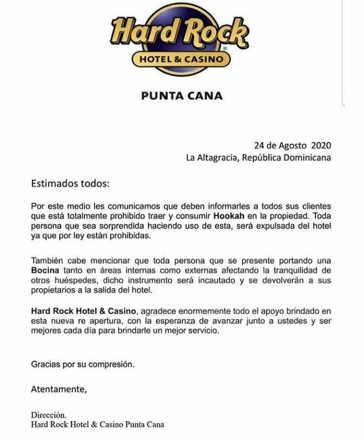 Hotel Hard Rock de Punta Cana informa que hookah y bocinas están prohibidas en sus instalaciones