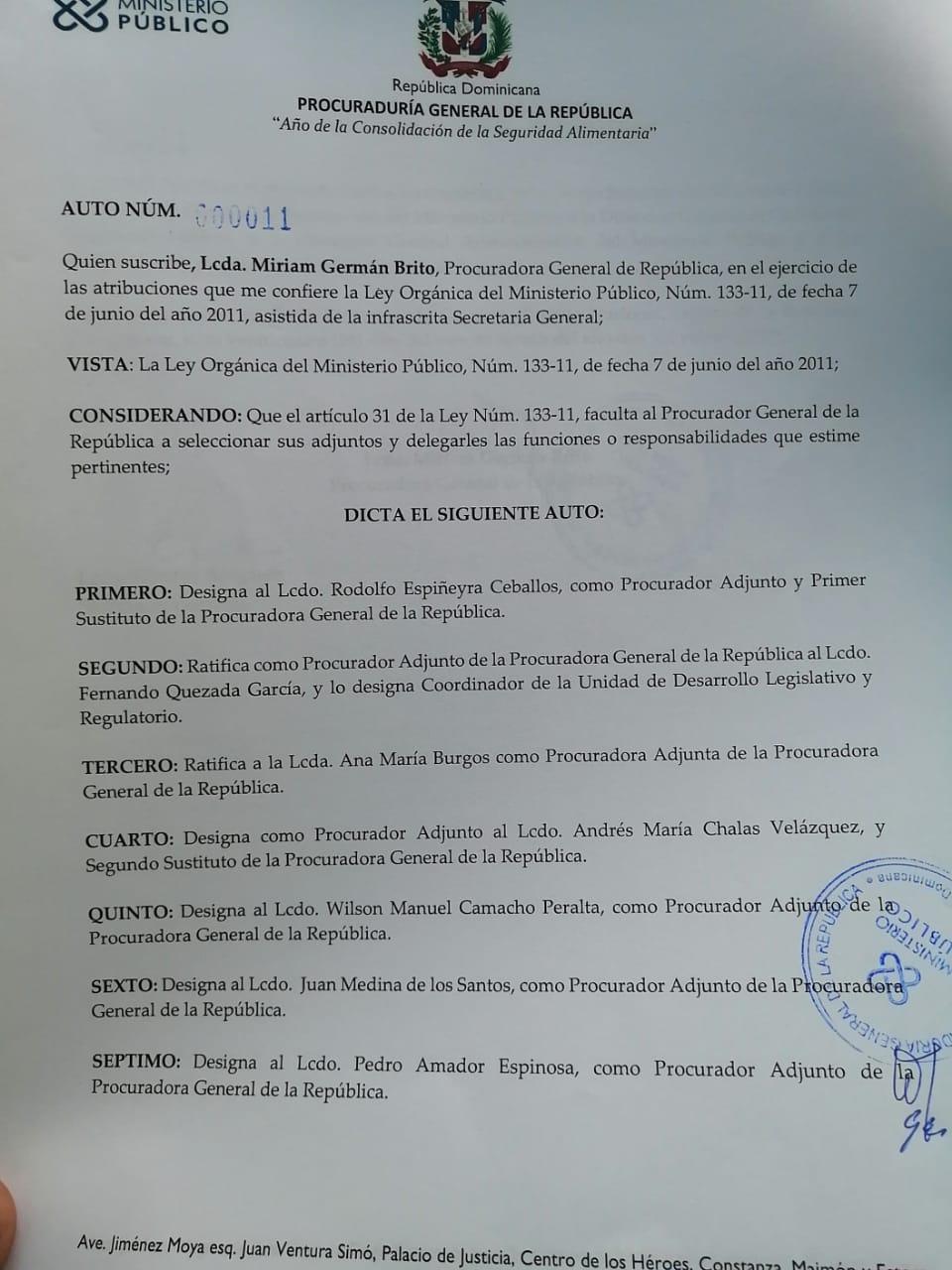 Miriam Germán designa a procuradores adjuntos en ejercicio de la ley No. 133-11