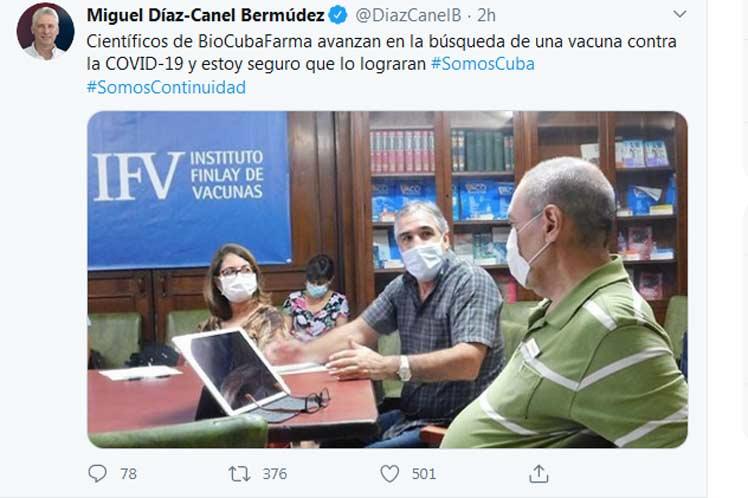 Presidente expresa certeza que Cuba logrará vacuna contra Covid-19