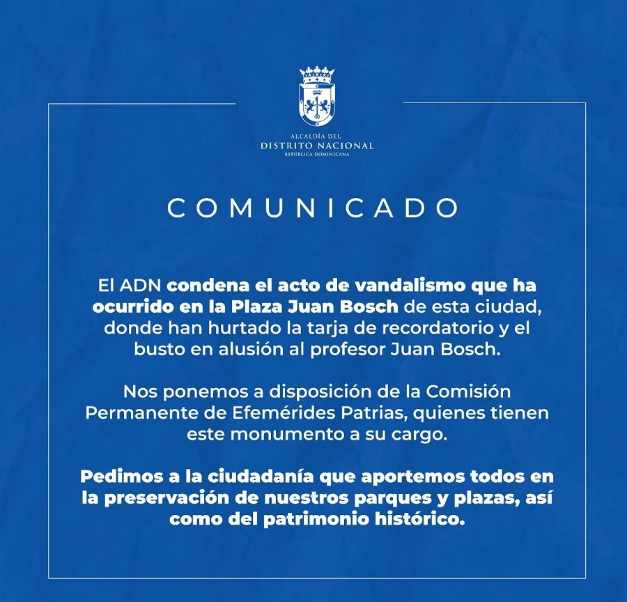 ADN condena acto de vandalismo en Plaza Juan Bosch