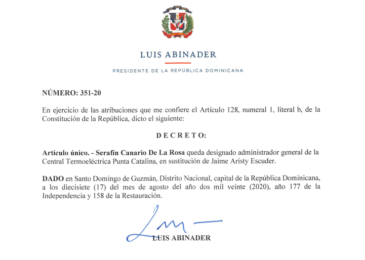 Serafín Canario, nuevo administrador de Punta Catalina