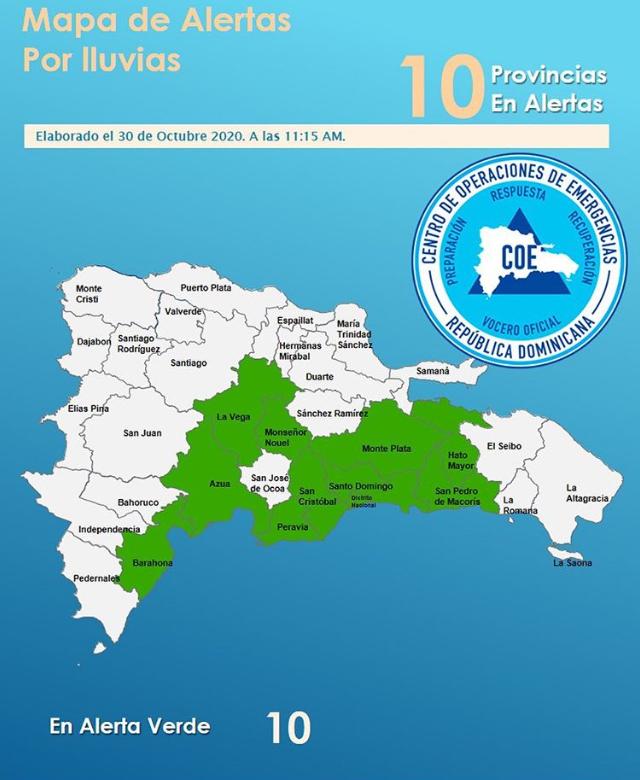 Diez provincias bajo alerta por onda tropical
