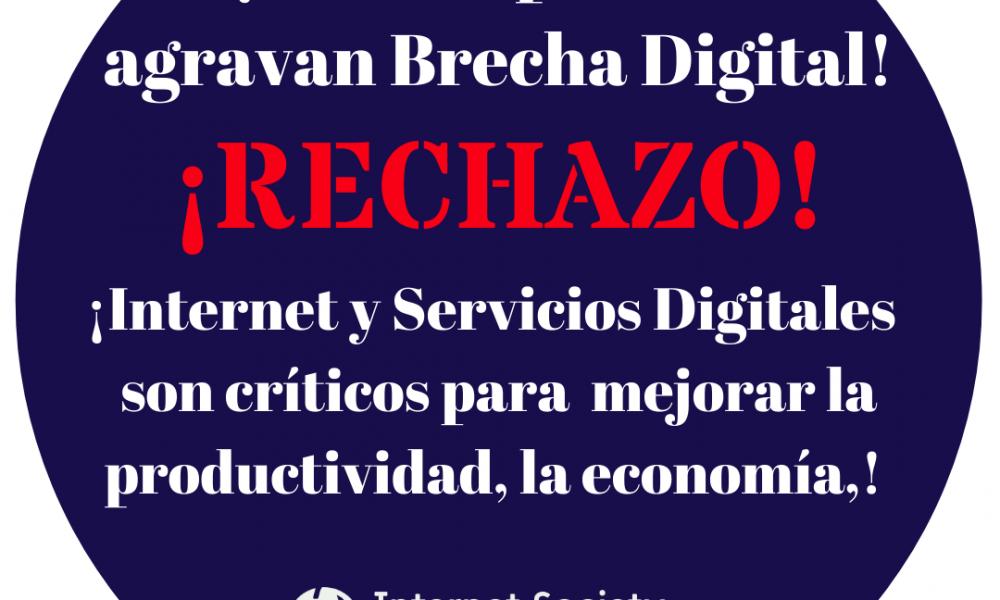 Sociedad de Internet rechaza impuestos gravando servicios digitales