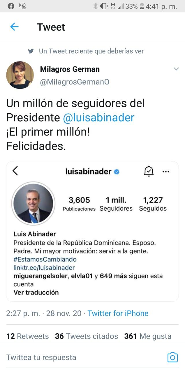 Cuenta de Abinader en Instagram alcanza un millón de seguidores