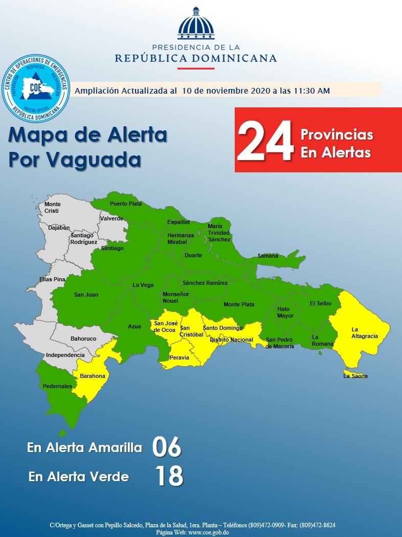 Se elevan a 24 las provincias bajo alerta