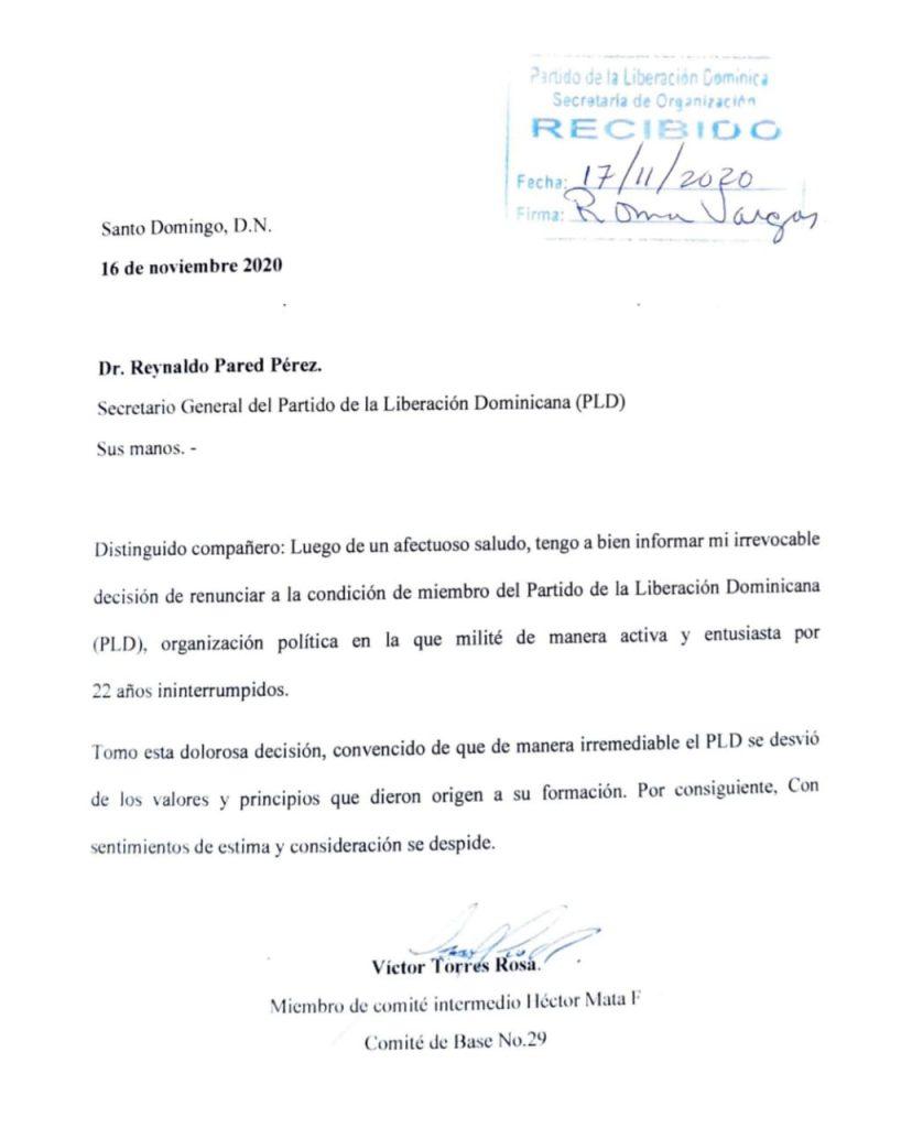 Después de 22 años de militancia, Víctor Torres renuncia del PLD
