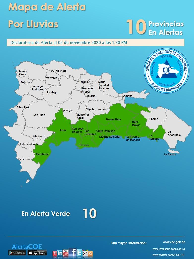 COE declara 10 provincias en alerta verde