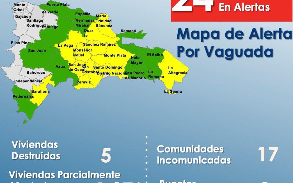 COE mantiene alerta para 24 provincias por incidencia de Vaguada