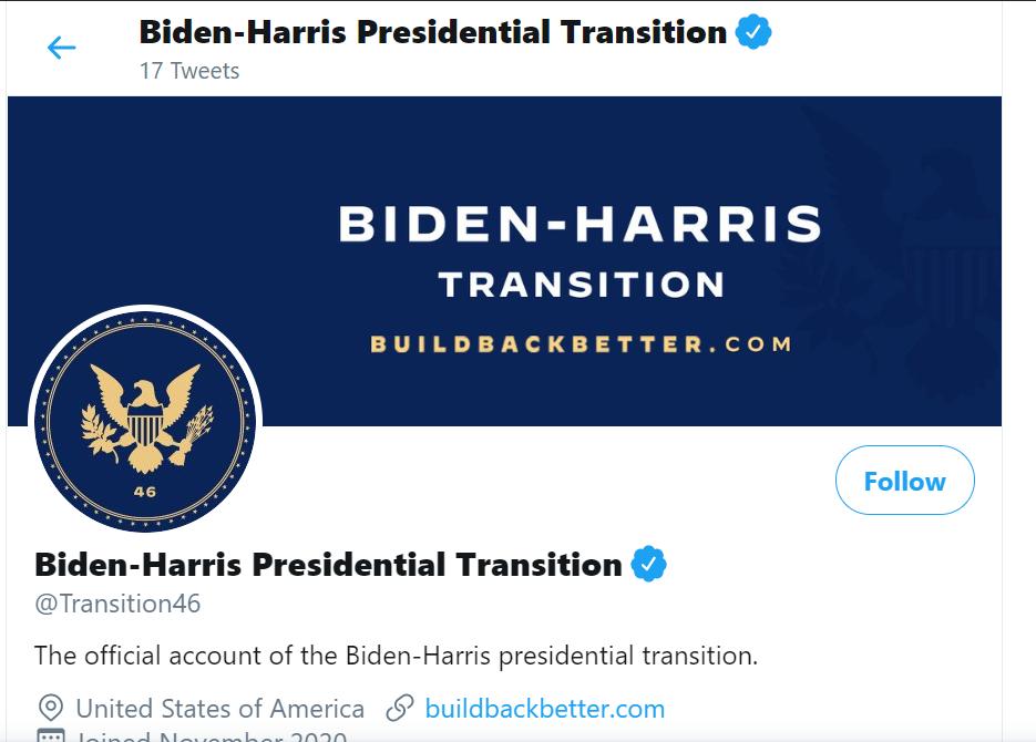 """Biden y Harris estrenan  cuenta de """"transición"""" en Twitter"""