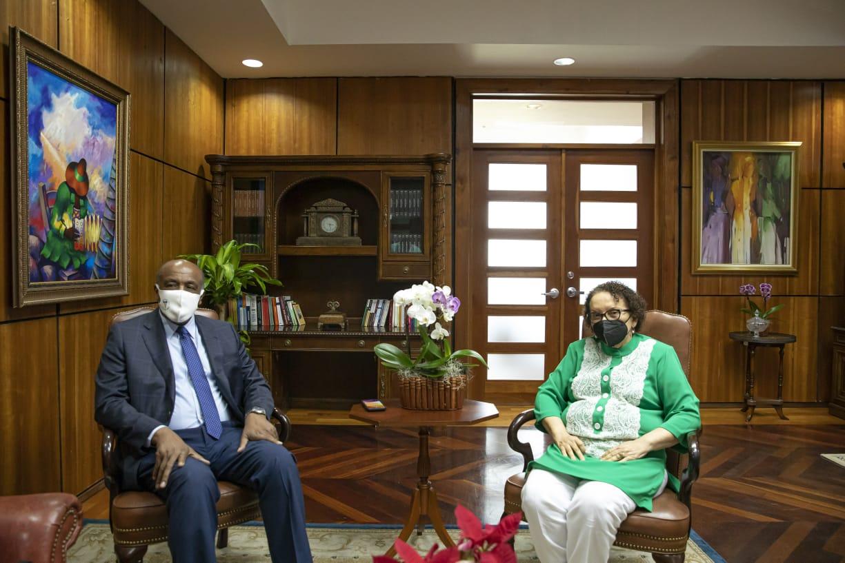 La procuradora general de la República sostiene una reunión de trabajo con el ministro de Energía y Minas