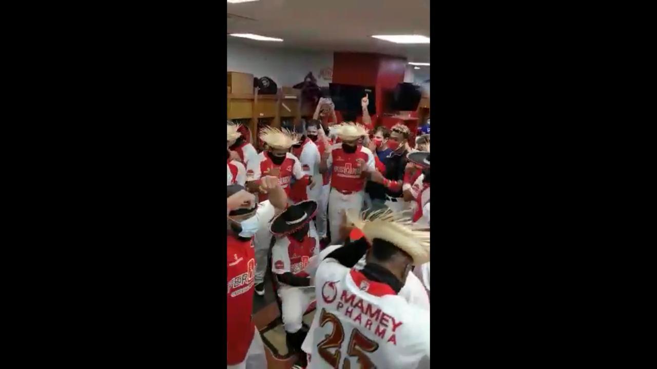 VIDEO | Así celebran los jugadores de los Leones del Escogido su novena victoria
