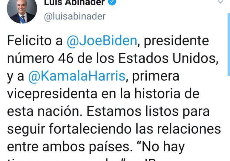 Abinader felicita a Biden y a Kamala por toma de posesión y le hace una invitación