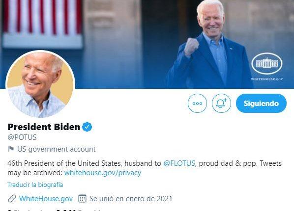 Twitter entrega la nueva cuenta a Biden como presidente de Estados Unidos: @POTUS