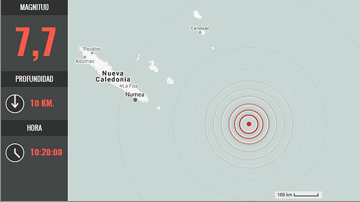 Un sismo de magnitud 7,7 sacude las islas de la Lealtad y Nueva Caledonia