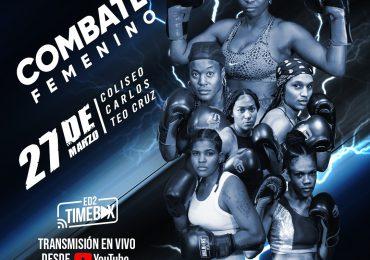 Presentan cartelera de boxeo profesional entre mujeres en el Coliseo Teo Cruz