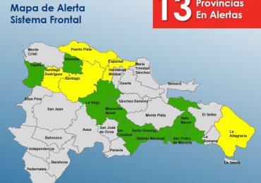 COE mantiene cinco provincias en alerta amarilla y ocho en verde