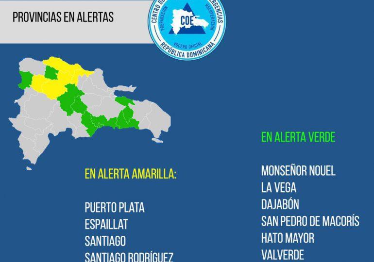 COE amplía y modifica provincias en alertas: ocho en verde y cuatro en amarilla