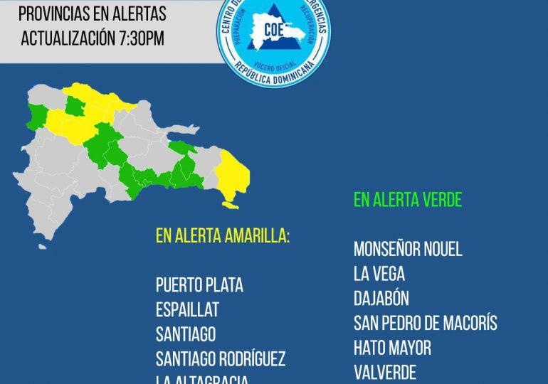 Suman 13 las provincias en alerta por vaguada y sistema frontal