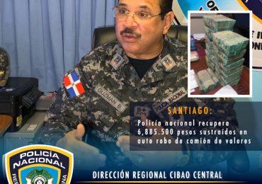 Policía y MP recuperan casi siete millones de pesos sustraídos a camión envío de valores