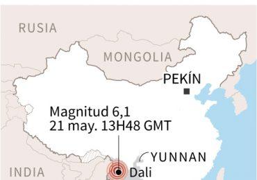 Dos muertos por sismo de magnitud 6,1 en provincia china de Yunnan