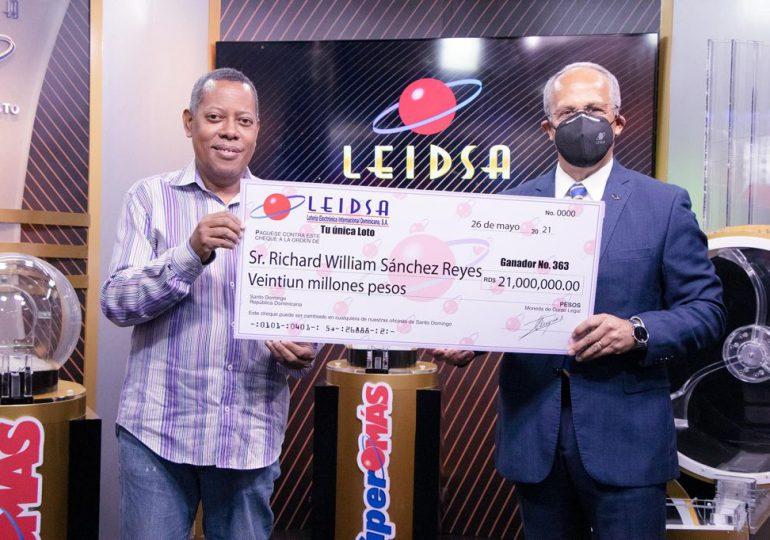 LEIDSA entrega 21 millones de pesos a nuevo ganador