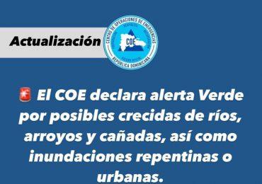 COE declara en alerta verde cuatro provincias del país