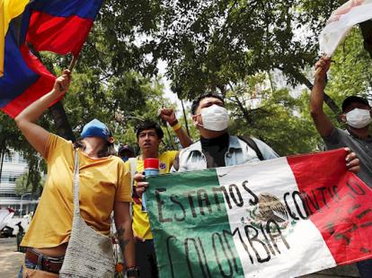 Colombianos protestan en México contra represión gubernamental