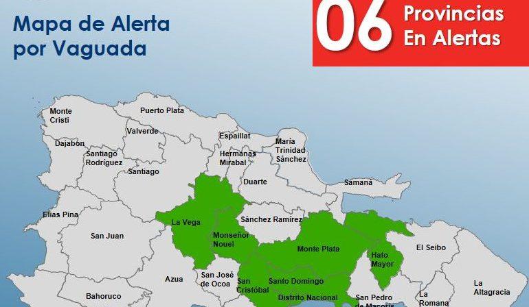 COE emite alerta verde para seis provincias