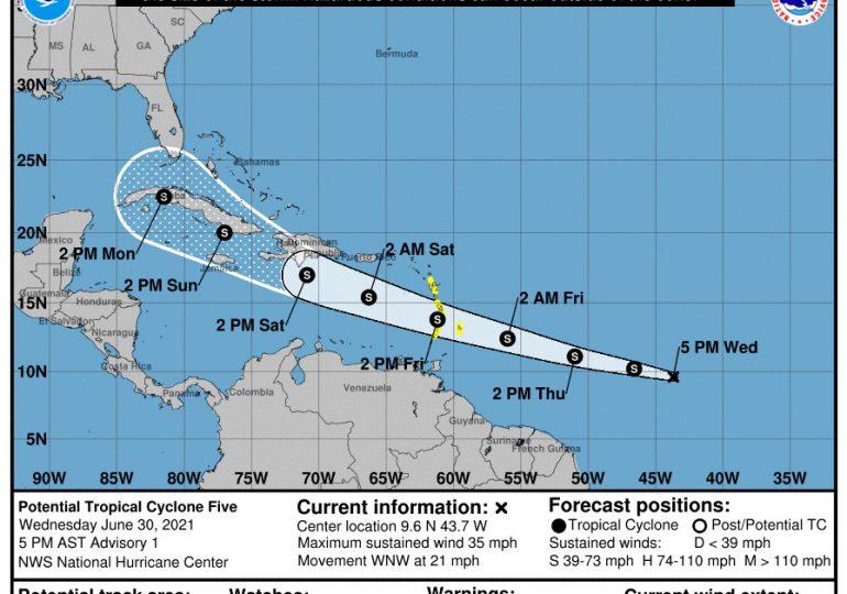 Vigilancia para islas del Caribe por potencial ciclón tropical 5