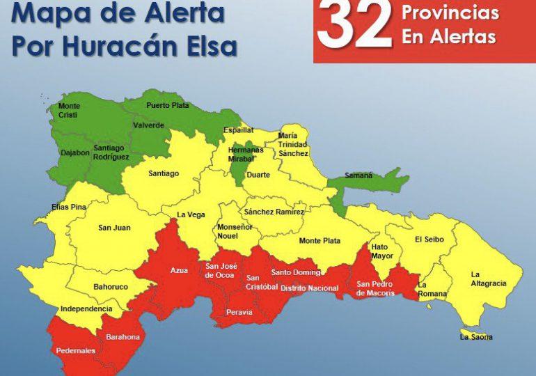 COE eleva a 32 provincias en alerta por paso de huracán Elsa
