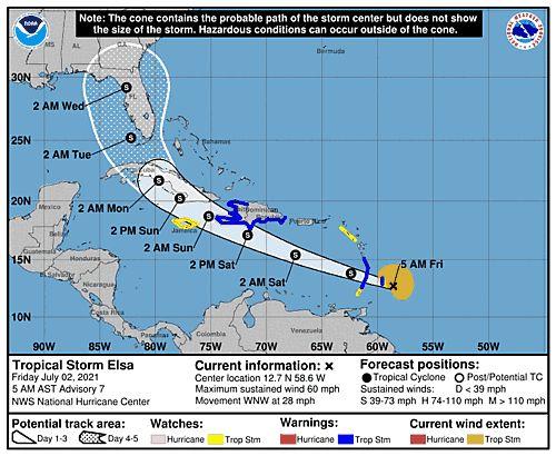 Elsa, la quinta tormenta tropical del año en la cuenca atlántica, alcanzó fuerza de huracán