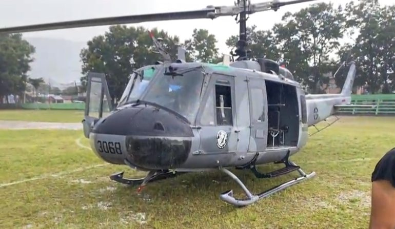Helicóptero de Abinader aterriza de emergencia por condiciones del tiempo