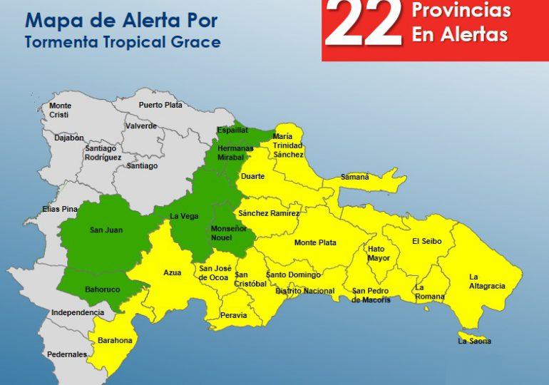 Elevan a 22 las provincias en alertas por Grace