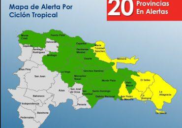 COE eleva a 20 las provincias en alerta ante potencial ciclón tropical