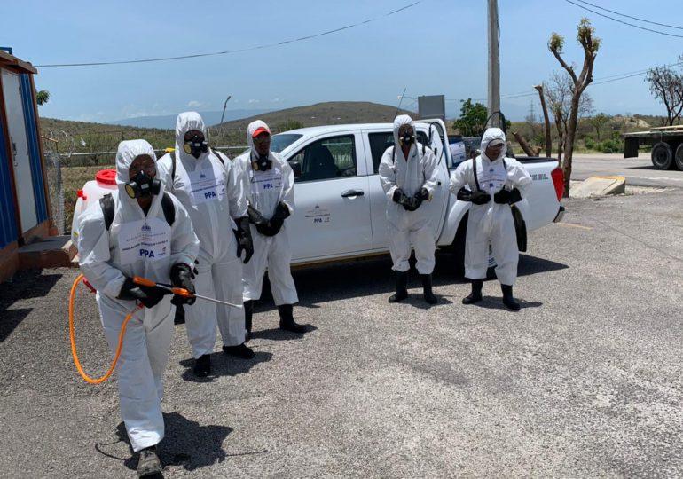 Gobierno refuerza desinfección en entradas y salidas del Este, Norte y Sur del país en control de peste porcina