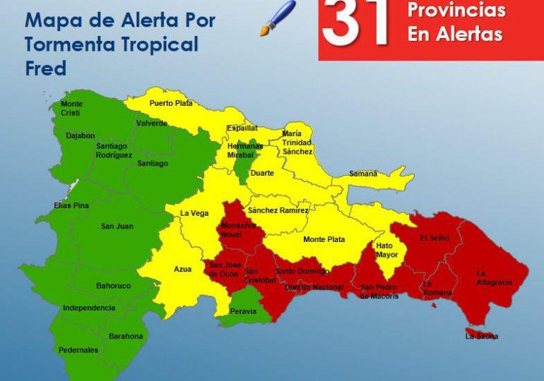 COE emite alerta roja en ocho provincias y se elevan a 31 las alertas ante ciclón tropical Fred