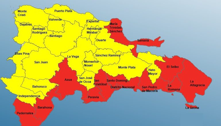 COE pone a 12 provincias en alerta roja y 19 en amarilla por Grace