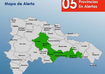 COE emite alerta verde para cinco provincias ante incremento de lluvias en el país