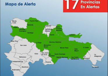 COE eleva a 17 las provincias en alerta verde por vaguada