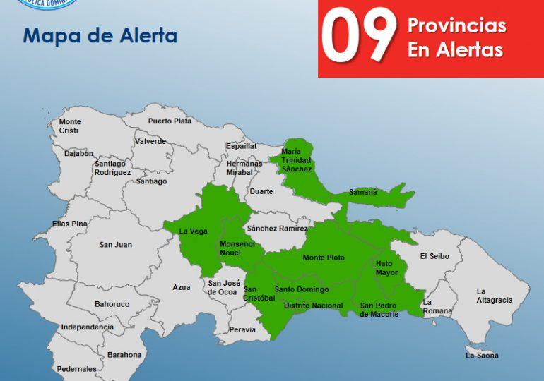 COE aumenta a nueve las provincias en alerta verde por vaguada