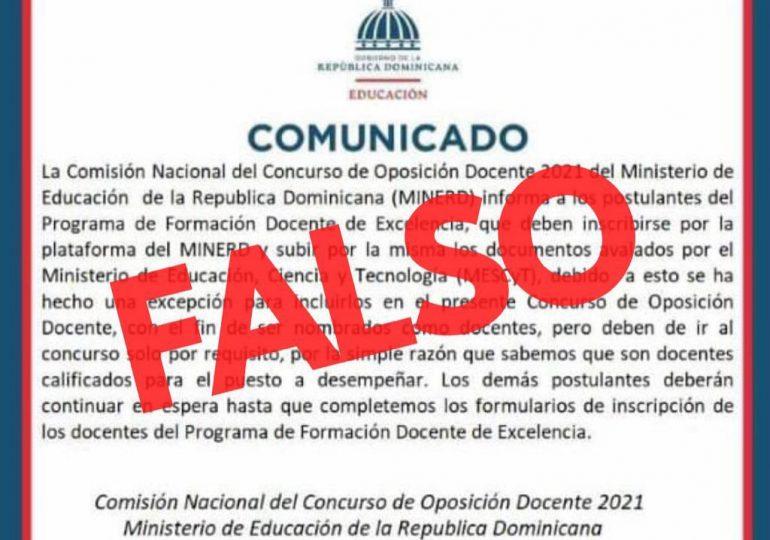 Ministerio de Educación dice es falso comunicado sobre excepción de elección de docentes