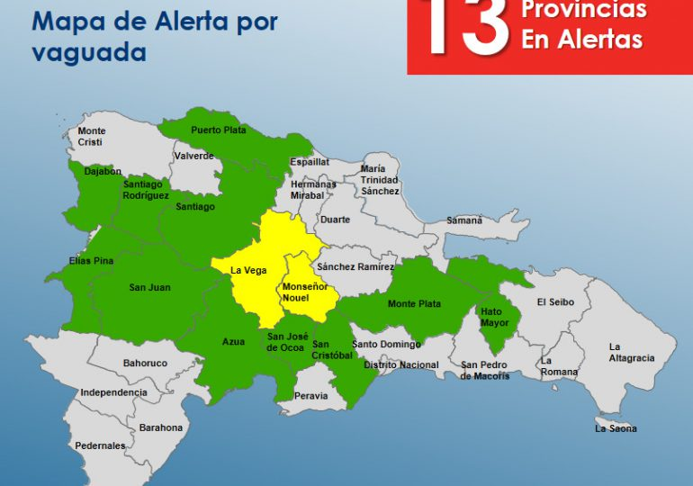 COE mantiene 13 provincias bajo alertas por vaguada